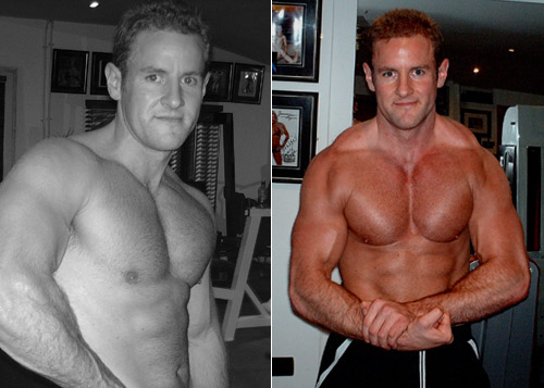 Ciaran woods, before and after using Number 1 Whey